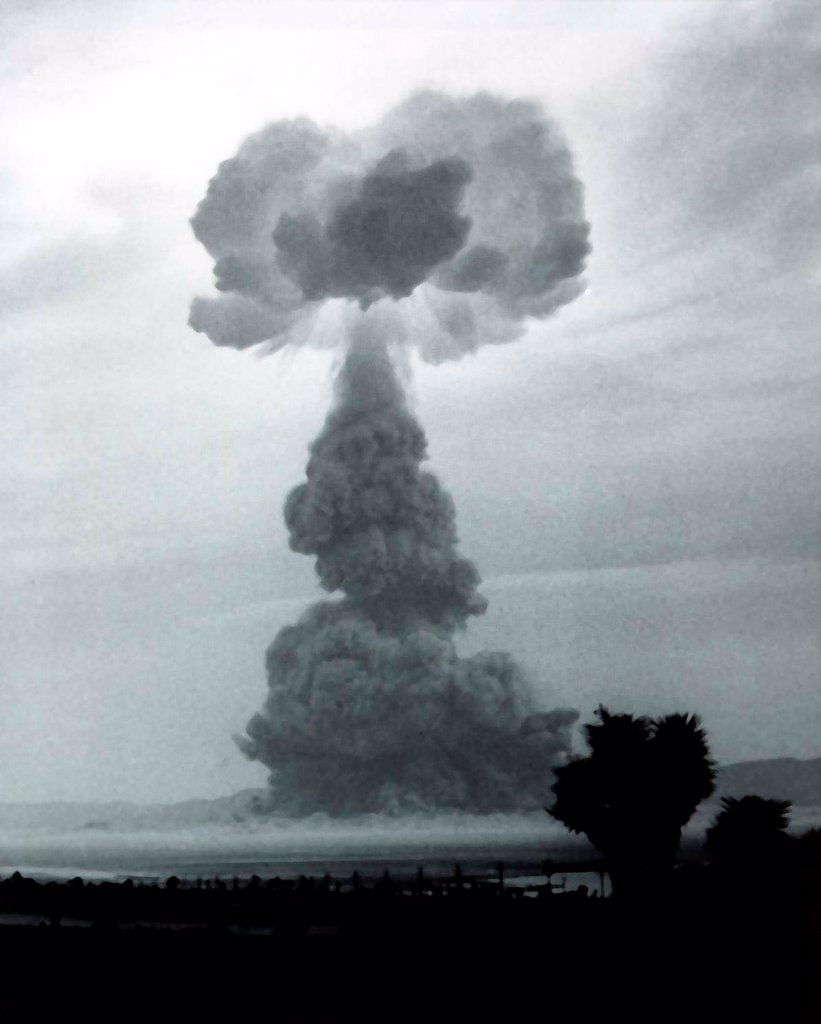 The HARRY shot was a 32 kiloton nuclear blast was detonated on a 300 foot tower. Later known as 'Dirty Harry', because it produced the highest amount of radioactive fallout of any continental US test, contaminating St. George, Utah. May 19, 1953. : Stock Photo