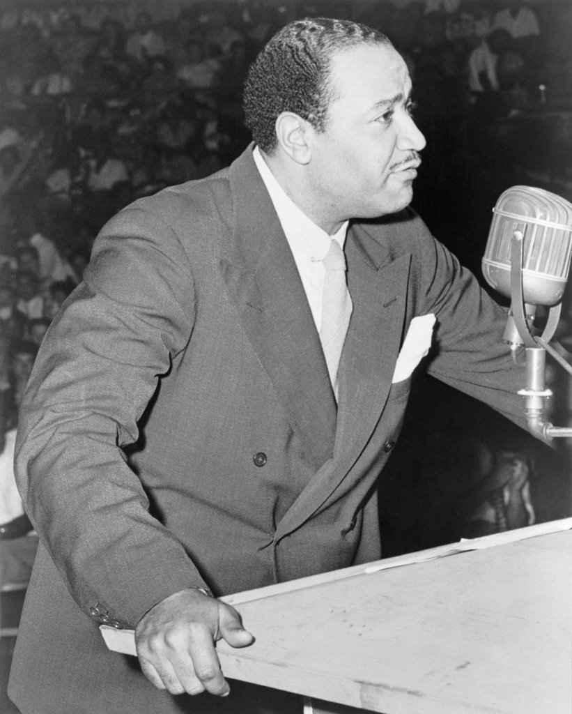 Stock Photo: 4048-11014 Benjamin J. Davis speaking at the Negro Freedom Rally, Madison Square Garden, New York City. June 25, 1945. He was an admitted communist who represented Harlem on the New York City Council from 1943-1949.