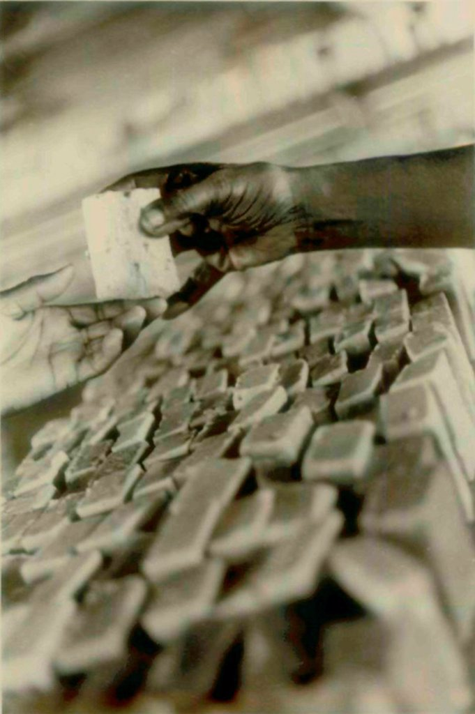 Stock Photo: 4048-11056 Soap being made in Jonestown factory. People's Temple Agricultural Project. Jonestown, Guyana. Nov. 1978.