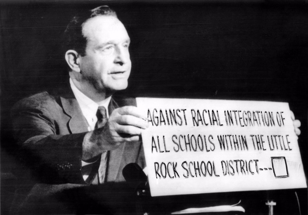 Stock Photo: 4048-1123 Governor Orval Faubus (D) appears on TV program here late 9/26/58 urging voters to declare themselves ooposed to school integration in the 9/27/58 election that will decide the fate of Little Rock and Arkansas state schools, 9/27/58.
