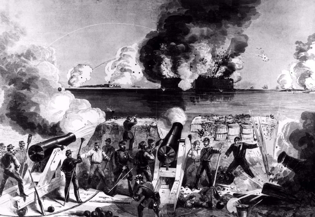 Stock Photo: 4048-1172 CIVIL WAR--Illustration of Fort Sumter in the harbor of Charleston, SC under Confederate attack on April 12 and 13, 1861.