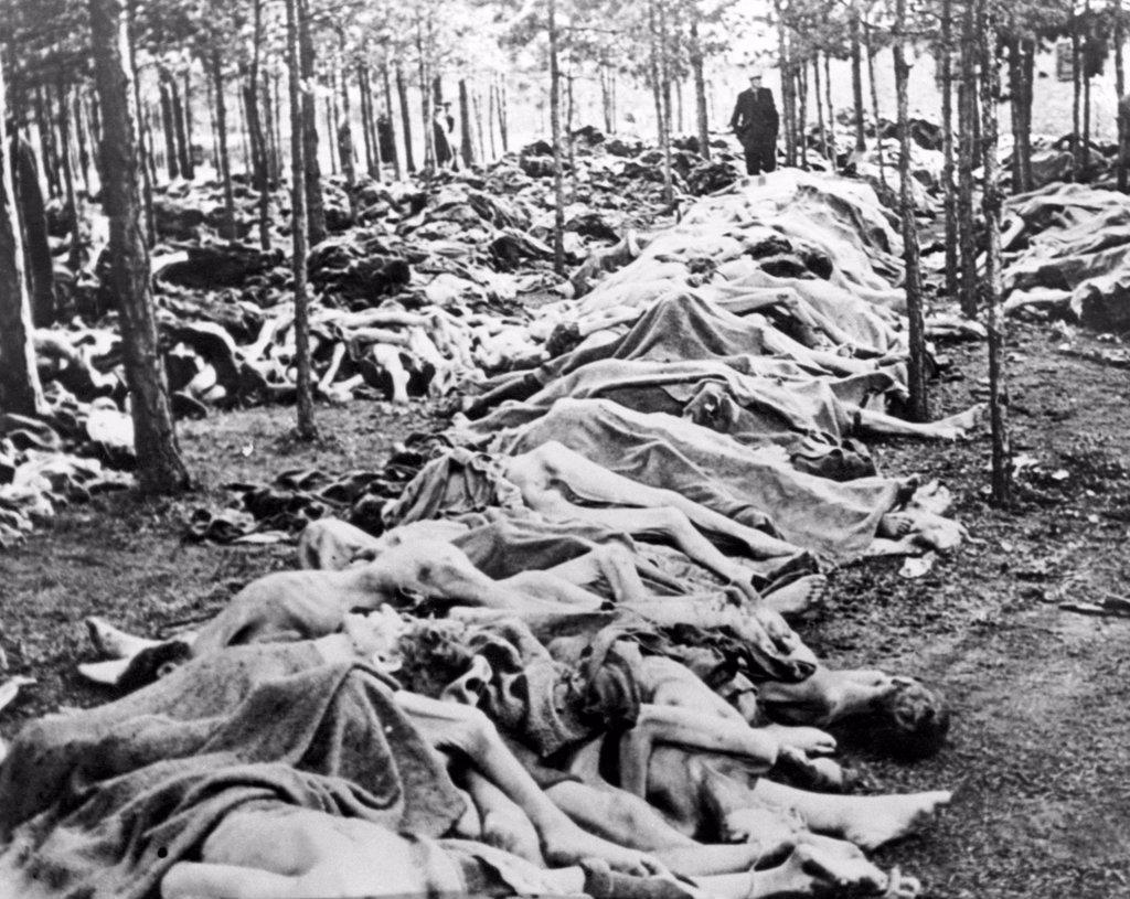 Dead prisoners piled outside Belsen concentration camp, 1945 : Stock Photo