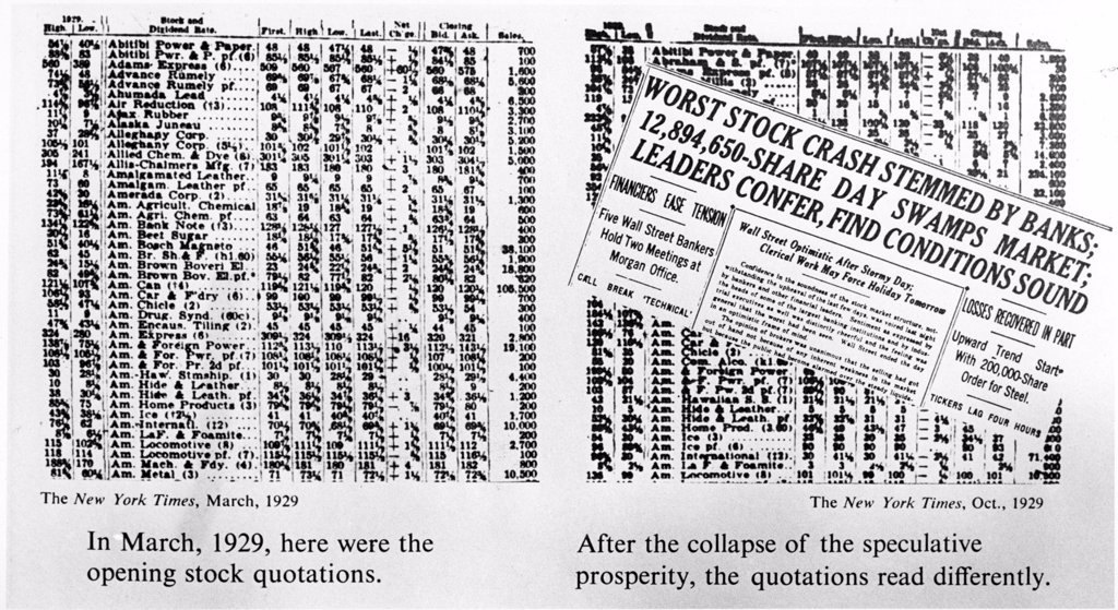 The opening stock quotations on the left--how the quotations read after the collapse, on right. March 1929 : Stock Photo