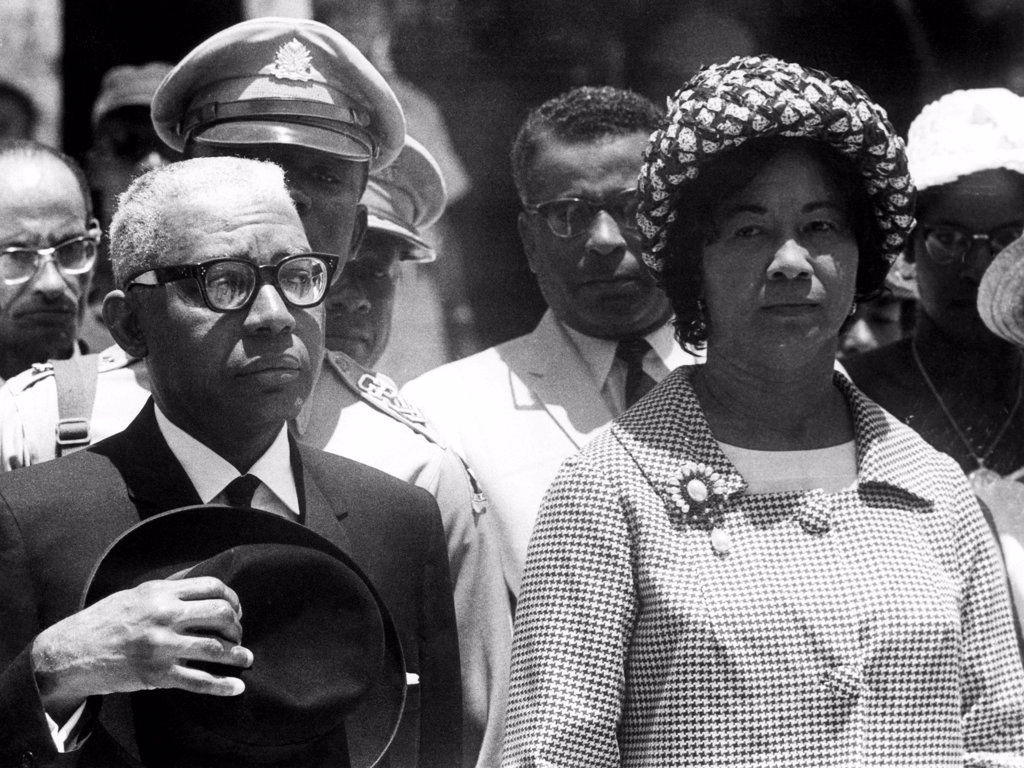 Francoise Duvalier and his wife, 1963 : Stock Photo