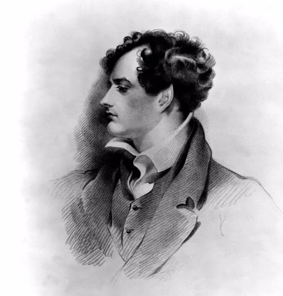 George Gordon Byron, Lord Byron. Engraved by H. Meyer, from an original drawing by G.H. Harlow. : Stock Photo
