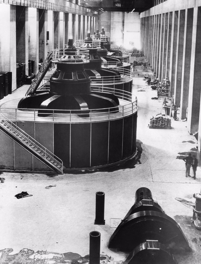 Stock Photo: 4048-1436 Generators at Hoover Dam power house, 1937