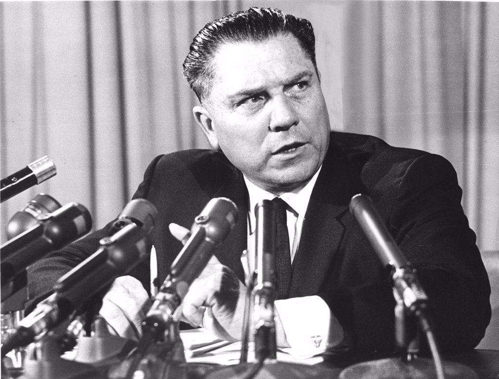 Stock Photo: 4048-1471 JAMES R. HOFFA- The union leader during a press conference announcing wage-benefit demands on the trucking industry. 11/6/63