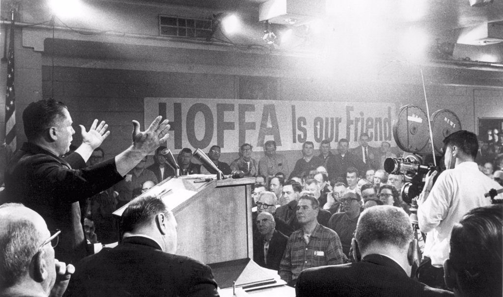 Stock Photo: 4048-1473 JAMES R. HOFFA- At a Teamster local meeting in Detroit. 1963