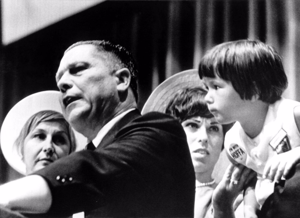 Stock Photo: 4048-1480 JAMES R. HOFFA-With his wife ,daughter and granddaughter at the 19th Convention of the International Brotherhood of Teamsters, Miami Beach, FL. 7/4/66