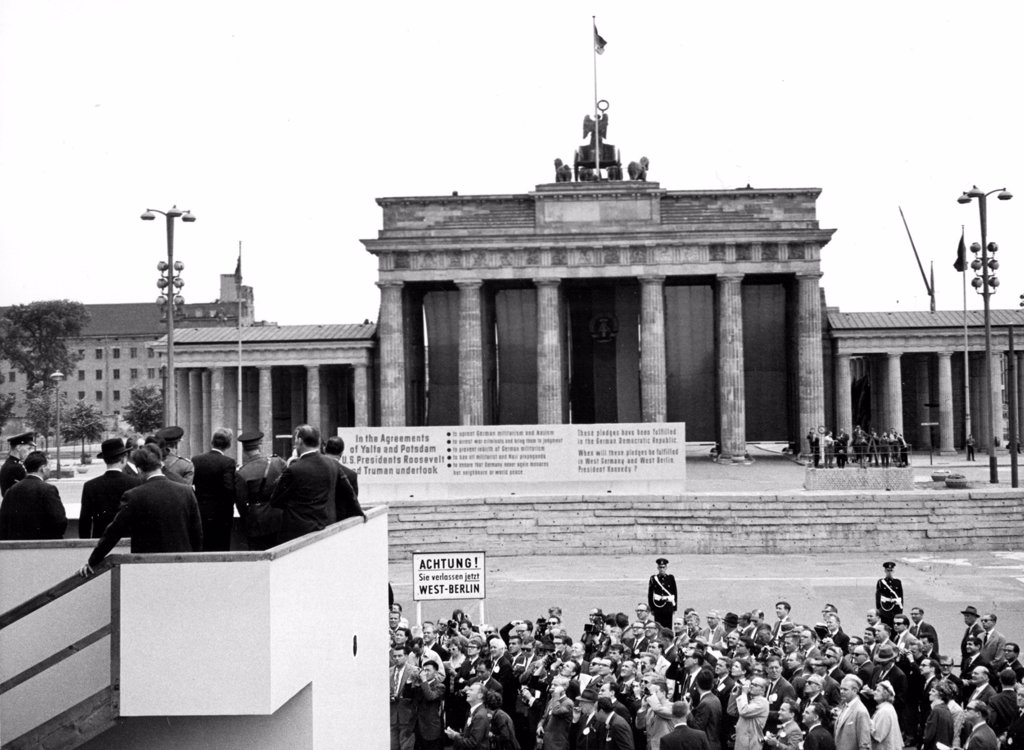 Stock Photo: 4048-1493 JOHN F. KENNEDY-Viewing the Berlin Wall from a platform at the Brandenburg Gate, Berlin. 6/27/63