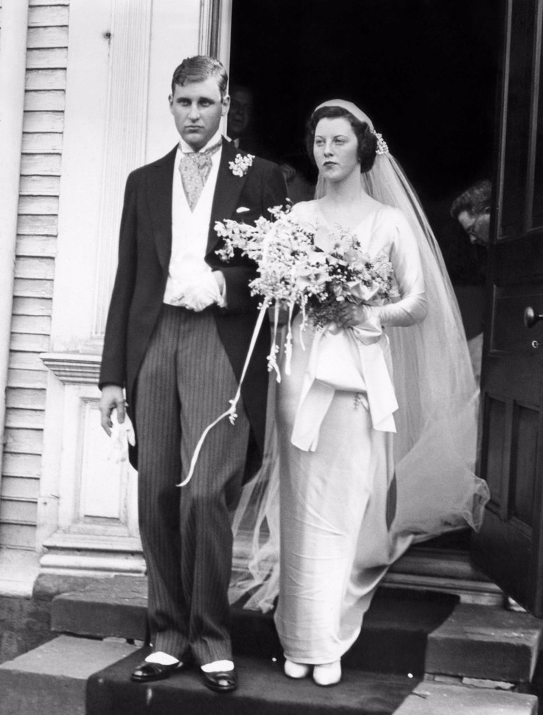 Stock Photo: 4048-1517 John Jacob Astor VI and his bride, Ellen Tuck French, leaving Trinity Church in Newport, Rhode Island, 1934