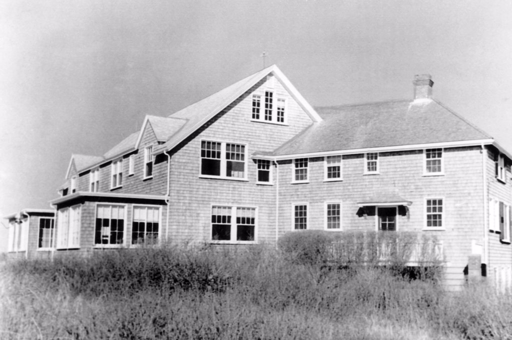 Stock Photo: 4048-1521 The summer home of President John F. Kennedy in Hyannis Port, Massachusetts on Cape Cod. The house was owned by industrialist Louis R. Thun. April 5, 1963