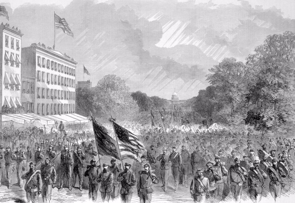 The Grand Review, General Philip Sheridan's veterans parade on Pennsylvania Ave. in Washington, D.C., May 23, 1865, from Harper's Weekly : Stock Photo