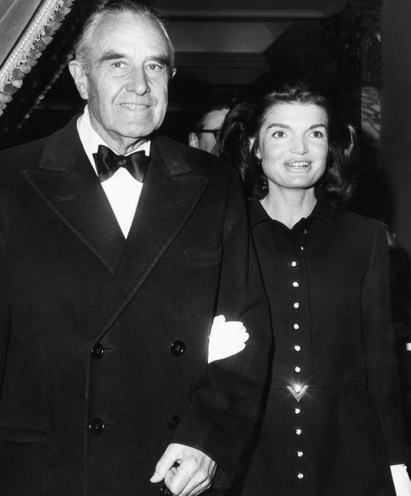 Jacqueline Kennedy (in her first public appearance since the death of her husband President John F. Kennedy), Ambassador Averell Harriman, arriving at the Plaza Hotel in New York, December 10, 1967. : Stock Photo
