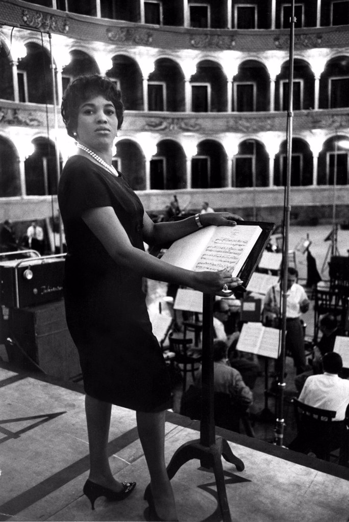 Soprano Leontyne Price at a rehearsal of AIDA, 1962. : Stock Photo