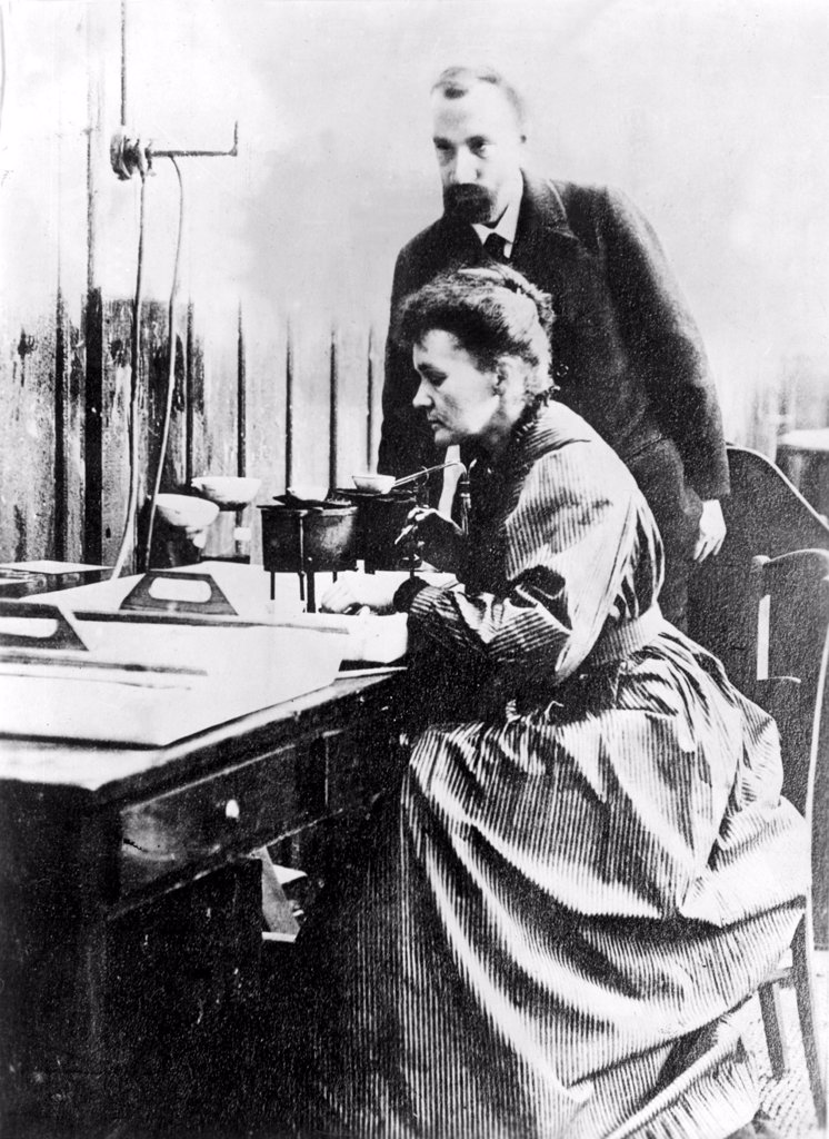 Marie and Pierre Curie, shown in their Paris laboratory in 1904. : Stock Photo