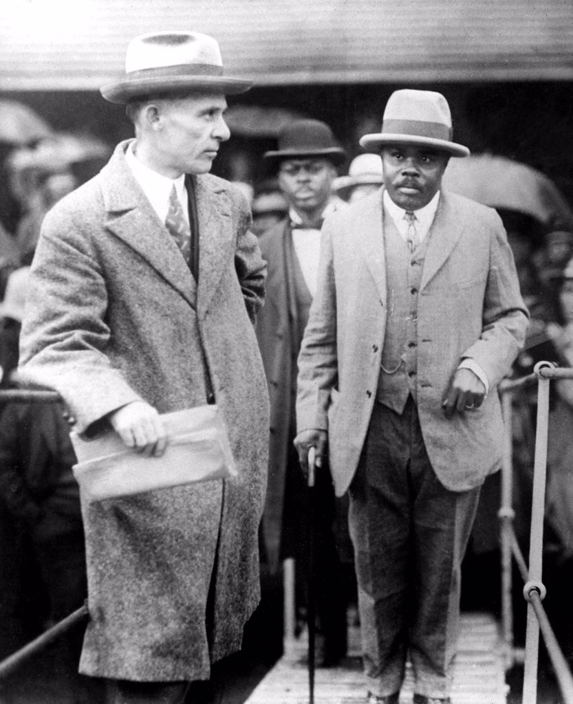 Stock Photo: 4048-1653 MARCUS GARVEY IS DEPORTED FROM U.S.A.Five hundred negroes of New Orleans, La., stood in the rain for hours to bid farewell to MArcus Garvey, as the deported negro leader boarded the S.S. Saramacca enroute to Jamaica.  Mid 1920s.