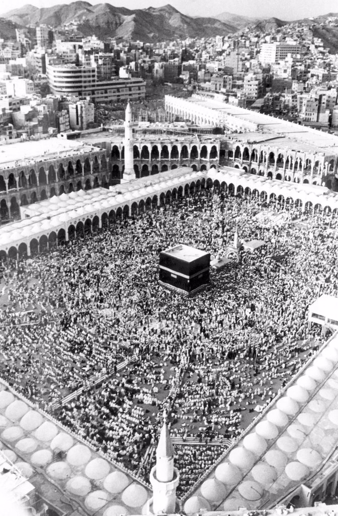 Stock Photo: 4048-1678 A gathering at El Haram, the great mosque in the holy city of Mecca, Saudi Arabia, 1975.