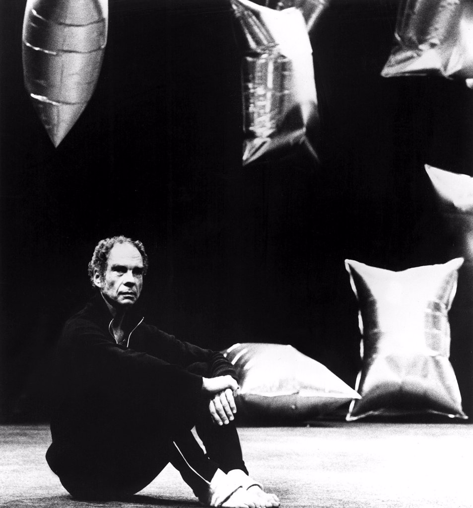 Stock Photo: 4048-1680 Merce Cunningham on the set of the production RAINFOREST in the 1970s (decor by Andy Warhol)
