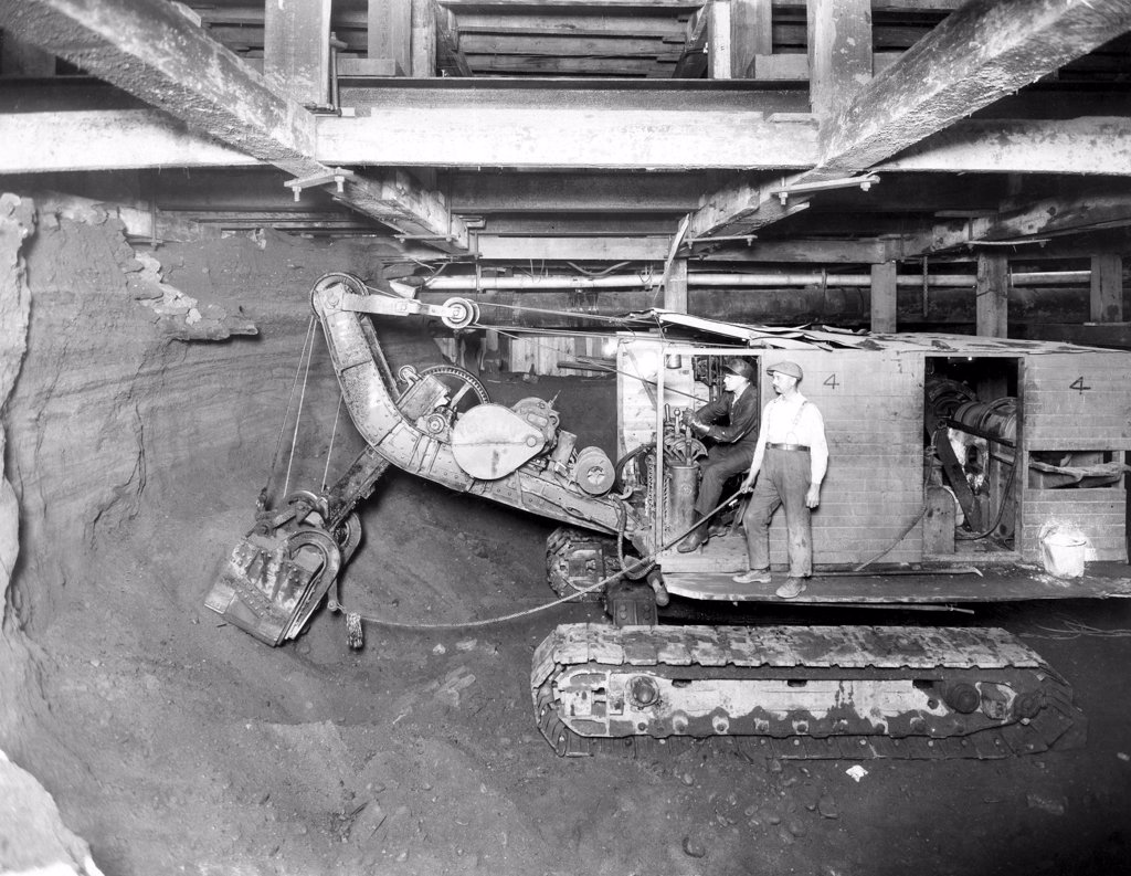 Stock Photo: 4048-1767 New York City, workmen in the tunnels, during the construction of the New York City Subway. August 12, 1925