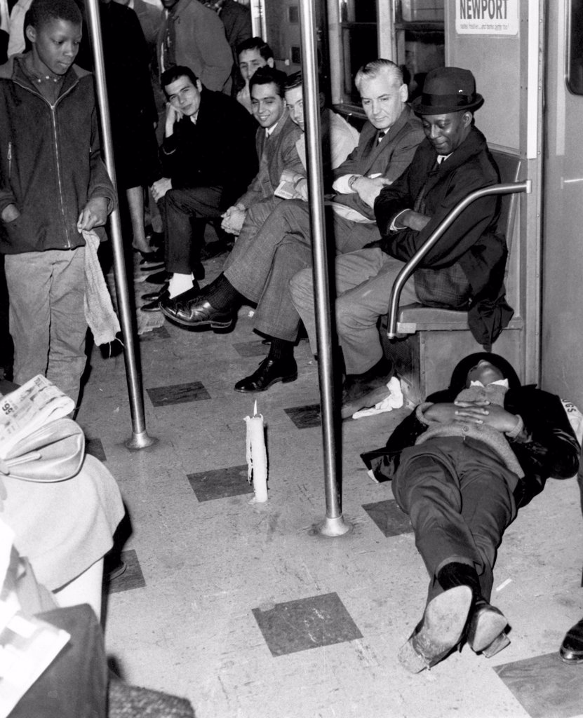 Stock Photo: 4048-1786 Passengers on a stalled subway train during a power failure, New York City, November 9, 1965