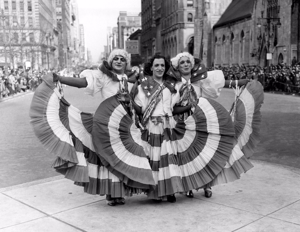 Stock Photo: 4048-1856 Drag queens at the Mummers Day Parade in Philadelphia on New Year's Day, 1937