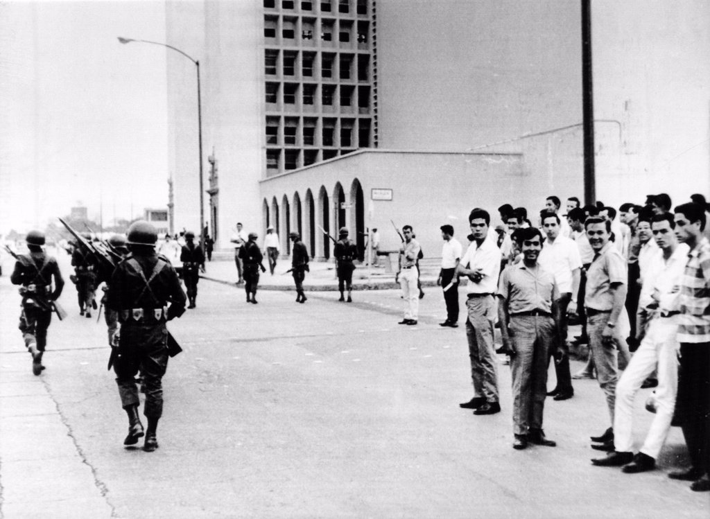 Stock Photo: 4048-1886 Hermosillo, Mexico: Mexican Army paratroopers patrol the campus of the University of Sonora as it reopens for classes after a two-month student strike that led to rioting and resulted in an army takeover.  May 22, 1967.