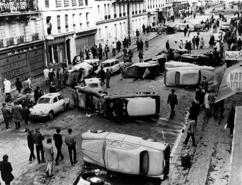 Stock Photo: 4048-1930 RIOTS-Auto Barricade on Guy Lussac Street in Paris during the riots of 1968.