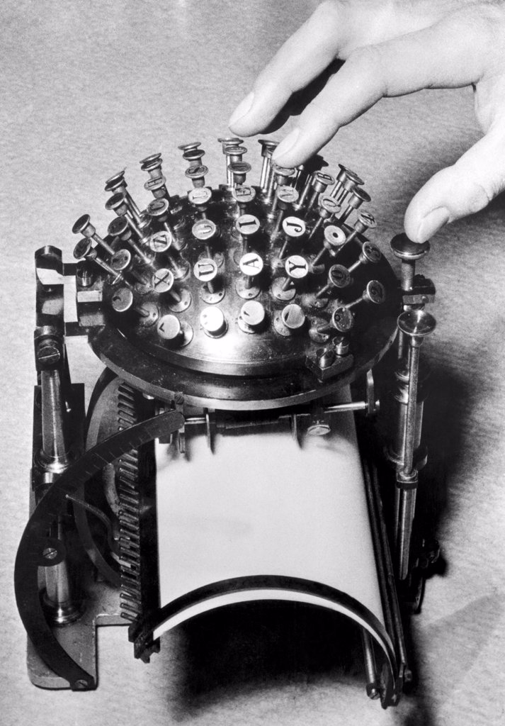 A typewriter designed to conserve the metal needed for the war effort during World War II, c. 1940s. : Stock Photo