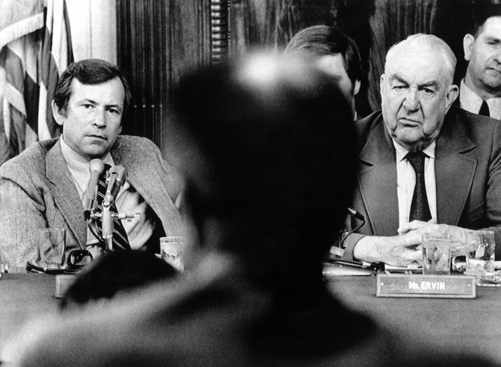 Stock Photo: 4048-2126 Sen. Howard Baker, Sen. Sam Ervin, listening to former Chief of Staff H.R. Haldeman during the Senate Watergate Committee Hearings, July 30, 1970