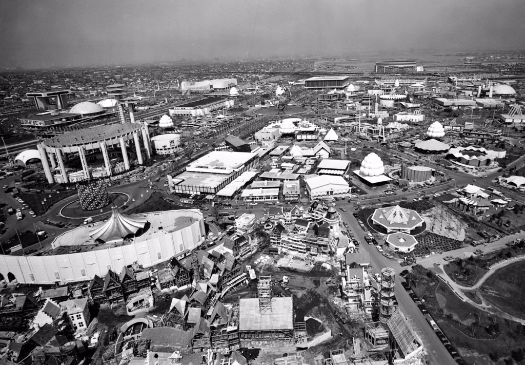 Stock Photo: 4048-2153 WORLD'S FAIR, New York City, 04-21-64. Aerial photo of World's Fair
