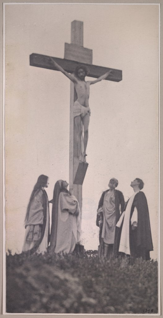 Stock Photo: 4048-2288 Crucifixion, frontal, with Mary Magdalene, Joseph and John, photograph by F. Holland Day, 1898.