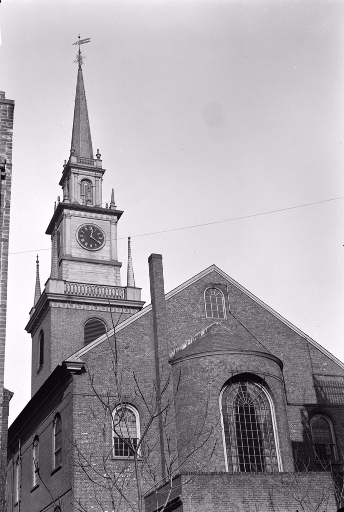 Stock Photo: 4048-2318 The Old North Church, officially called Christ Church, Boston, Massachusetts. The scene of the signal 'One if by land, and two if by sea' for Paul Revere's midnight ride. Photo ca. 1933. Habs Mass 13-BOST.