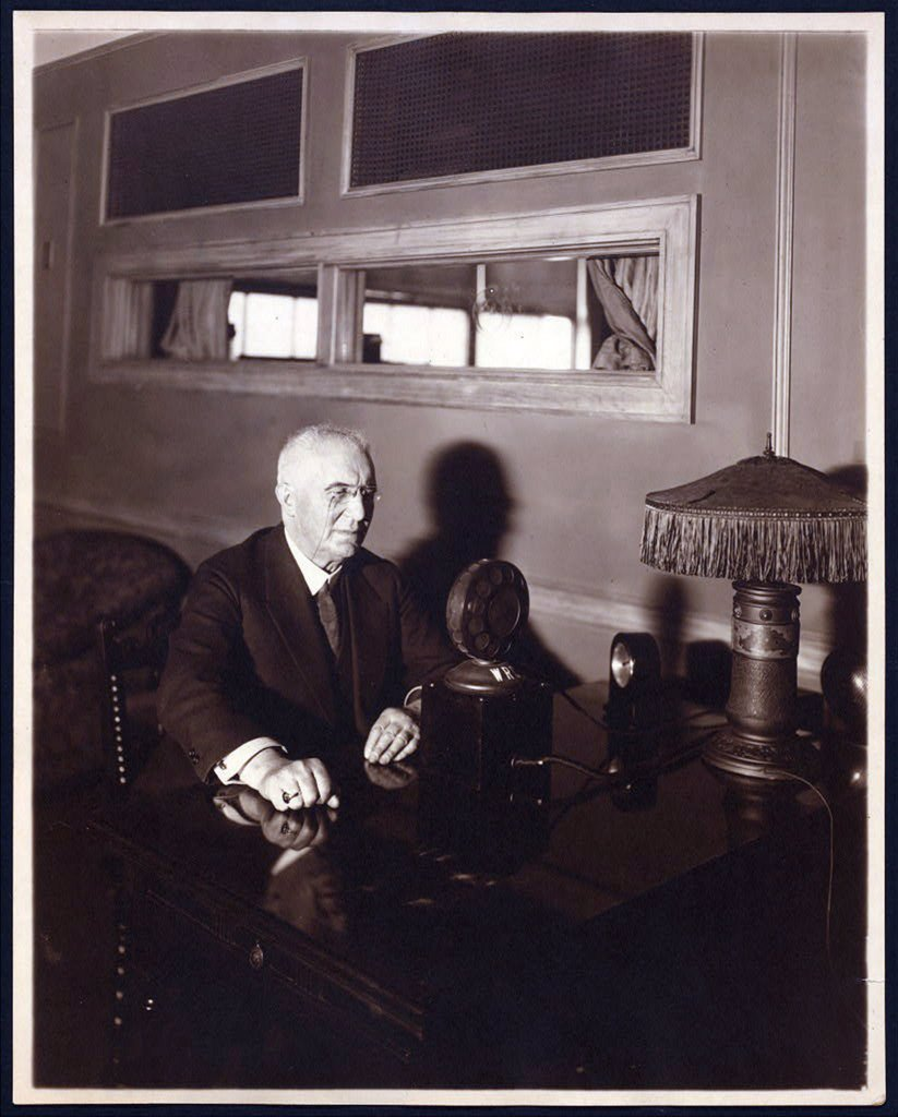 Stock Photo: 4048-2523 Emile Berliner (1851-1929), American inventor of the phonograph, seated in front of early microphone, circa 1926.