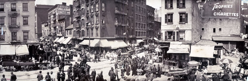Stock Photo: 4048-2551 Little Italy, A scene in the ghetto, Hester Street, 1902