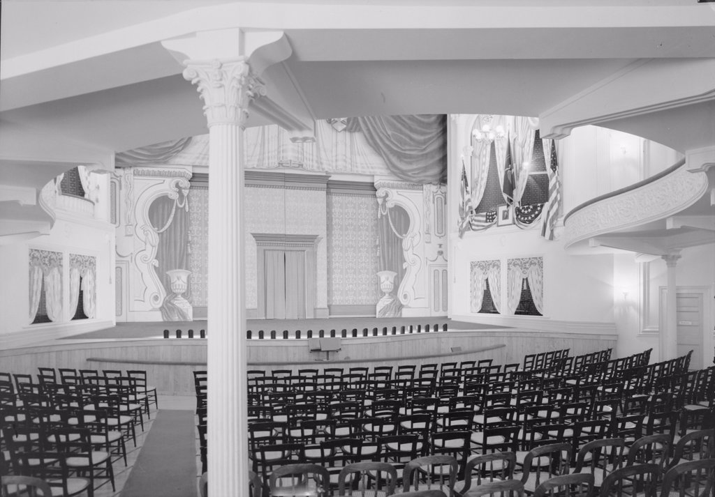 Stock Photo: 4048-2658 Theaters, Ford's Theater, site of the Assassination of President Abraham Lincoln, interior, stage and Presidential box from orchestra rear, 511 Tenth Street Northwest, Washington DC, circa 1930s.