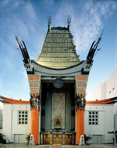 Mann's (formerly Grauman's) Chinese Theatre is the ultimate Hollywood tourist attraction, with crowds often jamming the patio to inspect handprints of movie stars. The opening of Grauman's in 1927 was the most spectacular theater opening in film history, photograph by Carol M. Highsmith, Los Angeles, California, 2005. : Stock Photo