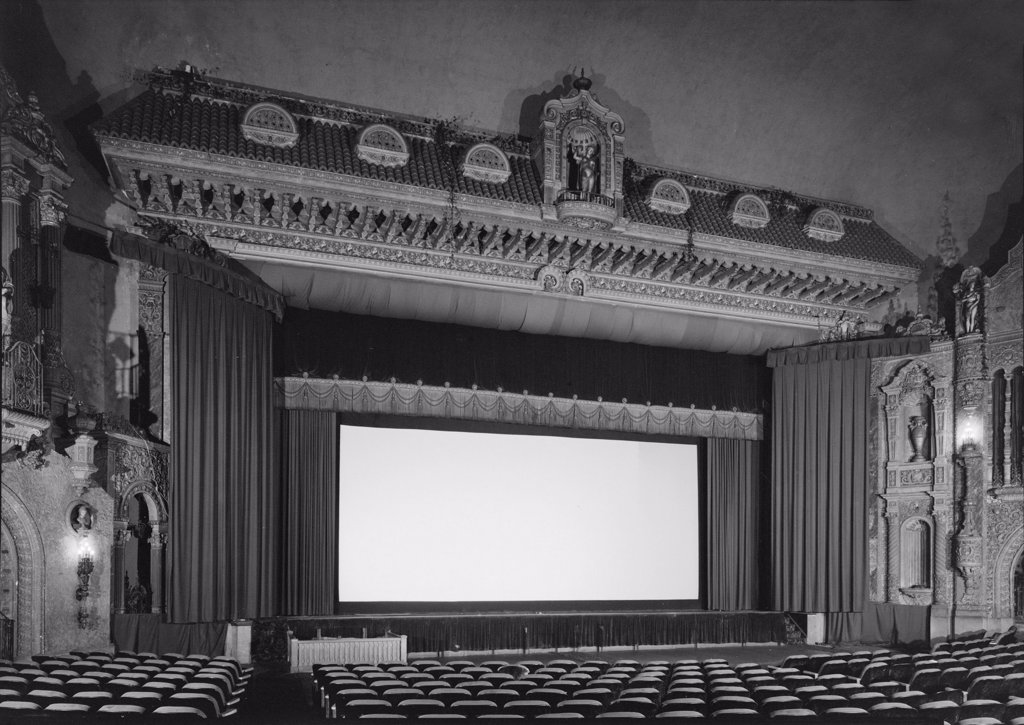 Movie Theaters, Loew's Theatre, view of stage, designed by John Eberson, an example of Churrigueresque design, 625 South Fourth Street, Louisville, Kentucky, circa 1928. : Stock Photo