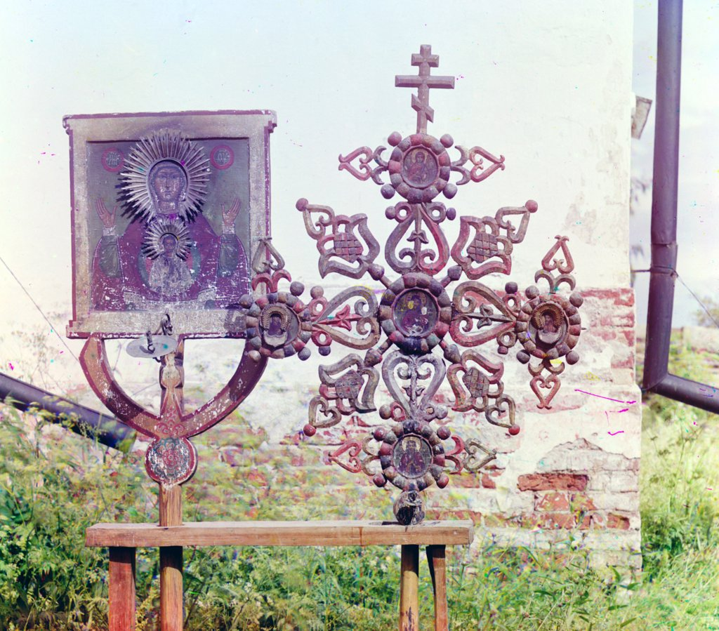 Stock Photo: 4048-2789 Altar cross and icon in the Church of the Transfiguration, Pidma, Russia, ca. 1909