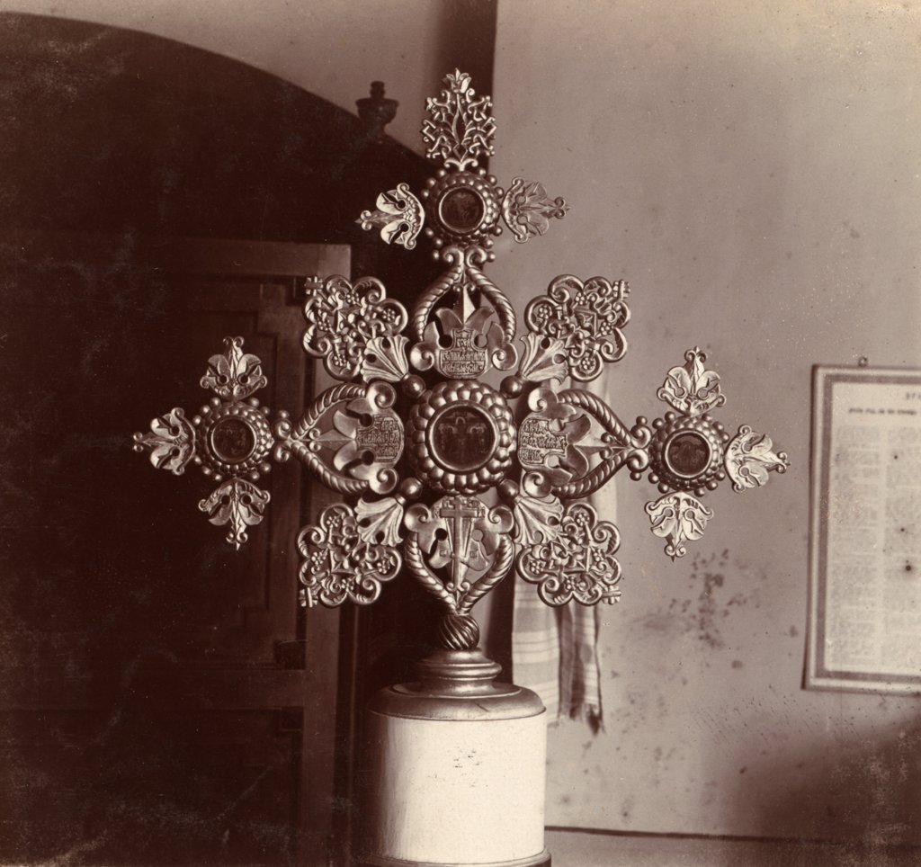 Stock Photo: 4048-2790 Altar cross in the old Church of the Assumption, a gift from Tsar Aleksei Mikhailovich, Kashin, Russia, ca. 1910