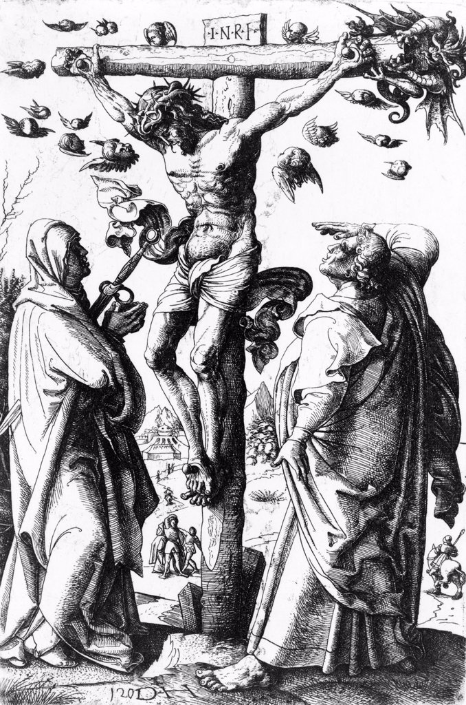 Stock Photo: 4048-2799 Jesus Christ, Christ on the Cross, etching by Daniel Hopfer, circa 1490-1536.
