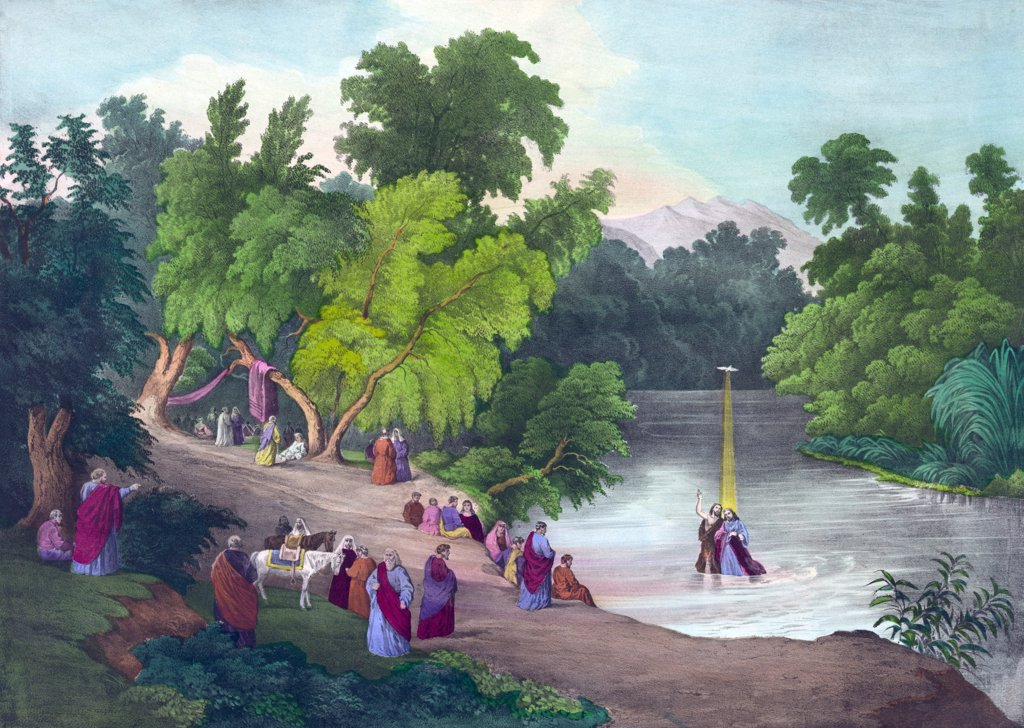 Baptism of Jesus Christ in the River Jordan, print circa 1867. : Stock Photo