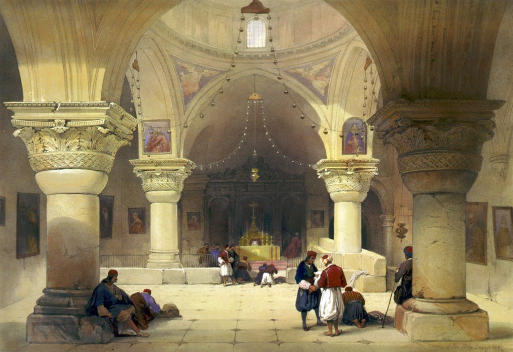Crypt of the Holy Sepulchre, Chapel of St. Helena, Jerusalem, lithograph by Louis Haghe, 1842. : Stock Photo