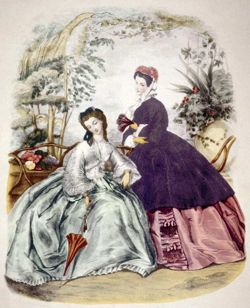 Stock Photo: 4048-311 Illustration of 19th century fashions, circa 1860, from 'La Mode Illustree'. Photo: Courtesy Everett Collection