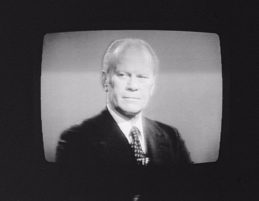 President Gerald Ford (1913-2006), U.S. President 1974-1977, on television during his first presidential debate in Philadelphia, Pennsylvania, photograph by Thomas J. O'Halloran, September 23, 1976. : Stock Photo