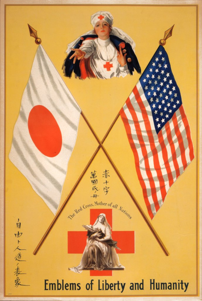 Stock Photo: 4048-3796 World War I, Poster showing two Red Cross nurses, one cradling in her arms a child on a litter, between the flags of Japan and the United States, 'Emblems of liberty and humanity The Red Cross, mother of all nations', poster circa 1914-1918.