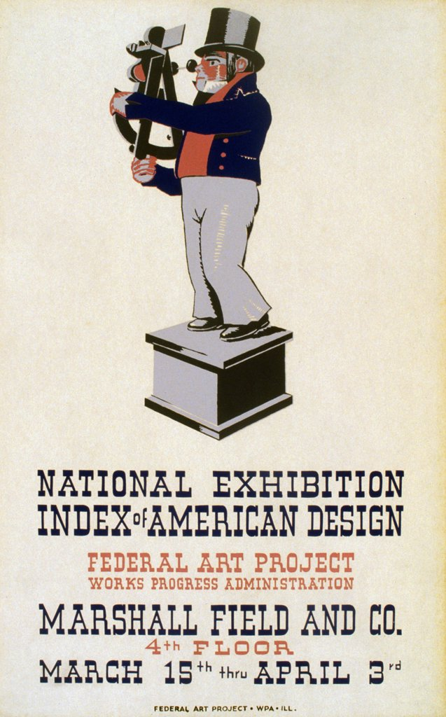 Poster for Federal Art Project exhibition 'Index of American Design' at Marshall Field and Co., 4th floor, showing an 18th century sailor using a sextant. silkscree, 1937 : Stock Photo