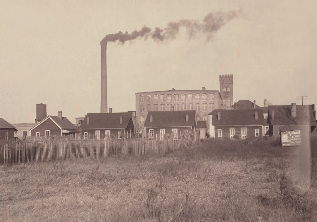 Hell's Half Acre, from original caption: 'row of disreputable houses at the edge of the mill settlement. These houses harbor the scum of the negroes and whites of the vicinity, and are separated from the village by a ditch, mill people patronize these resorts, broken down mill girls end up in them', photograph by Lewis Wickes Hine,  November, Alabama, 1910. : Stock Photo