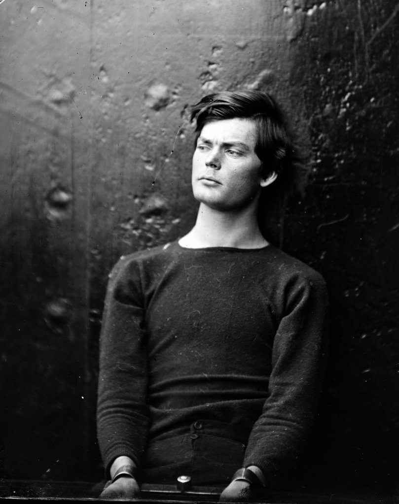 Assassins. Lewis Payne, in sweater, seated and manacled. Photograph by Alexander Gardner, April 1865 : Stock Photo