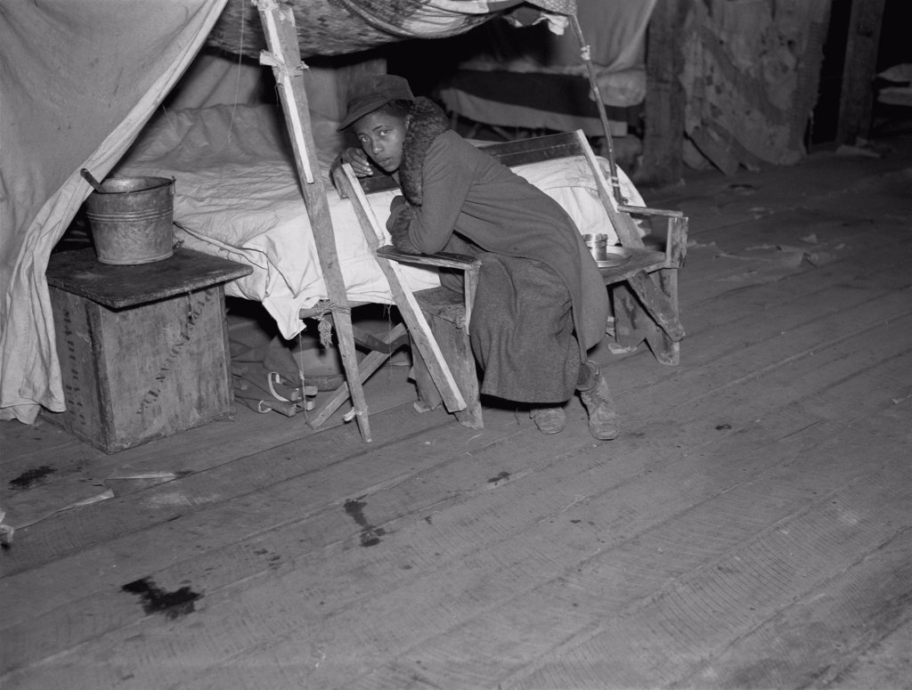 Stock Photo: 4048-3933 African American girl in infirmary after flood, original title: 'Negro girl in the temporary infirmary', Forrest City, Arkansas, photograph by Walker Evans, February, 1937.